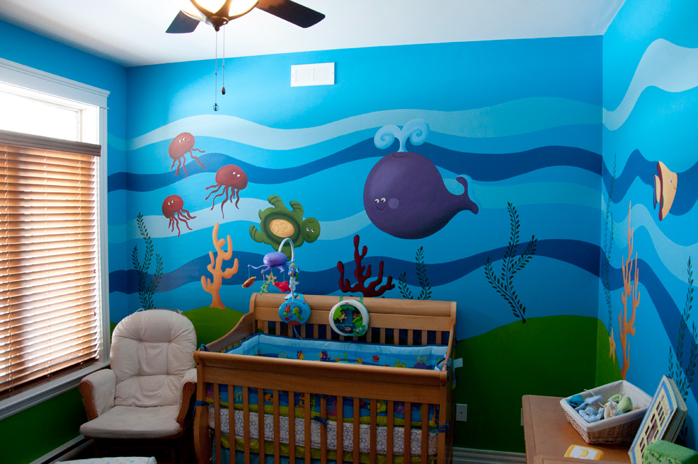Under the sea mural for Space themed murals